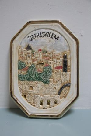 Octagon plate with jerusalem motiv 25x18cm
