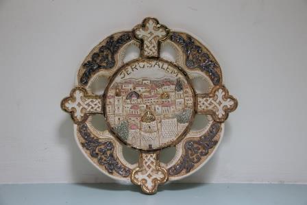 Jerusalem old city cross plate   26cm